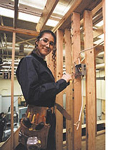 Woman installing electrical wiring
